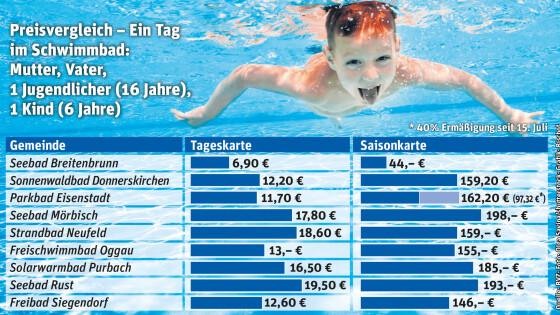 Preisvergleich: Ein Tag im Schwimmbad im Bezirk Eisenstadt Sommer 2018