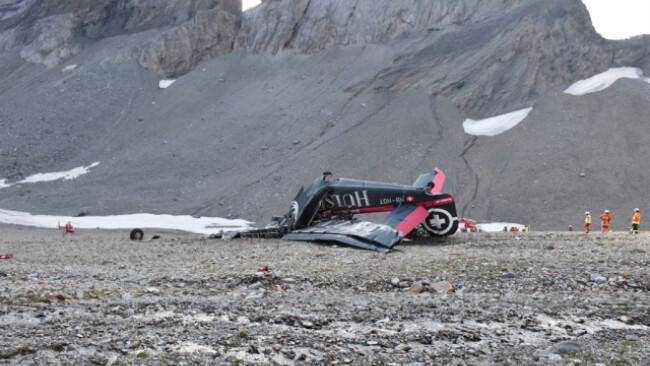 Die total zerstörte Ju-52 am Piz Segnas im Kanton Graubünden