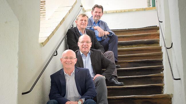 Weinquartett-Winzer Sepp Bayer, Andi Liegenfeld, Hans Neumayer und Leo Sommer