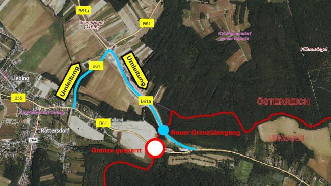 Verkehrsumlegung im Bereich des Grenzüberganges Rattersdorf [A] – Köszeg [H] mit 26.11.2020