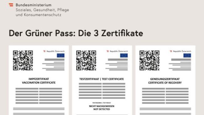 Ausdruck Grüner Pass-Zertifikate auf Gemeinden möglich