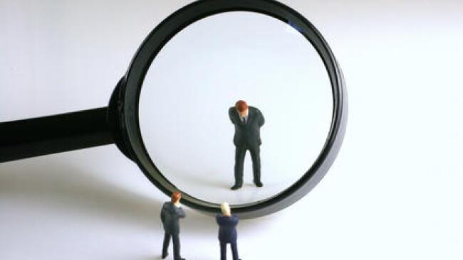 Figuren und Lupe - figures and a magnifier Stress Prüfungsangst
