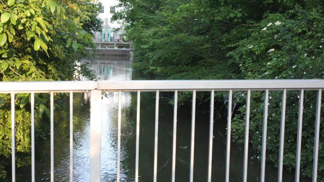 Circa auf Höhe der Leithabrücke zum Parkstadion wurde der Mann im Wasser entdeckt.